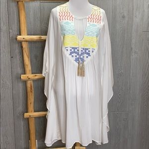 Lovestitch Embroidery Swim Coverup Tunic M/L NWT
